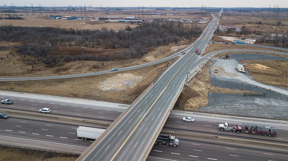 Aerial view of Highway 401 at Trafalgar Road Bridge southbound