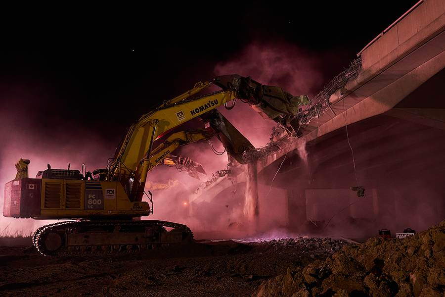 Process of the demolition underway